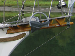 Magellan 36 with over-sized Rocna clear of bowsprit and whisker stay